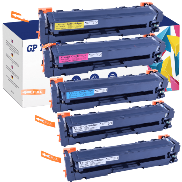 5x TONER DO HP COLOR LASERJET MFP M281FDW CF540X CF541X CF542X CF543X -GP-HCF544X CMYKK