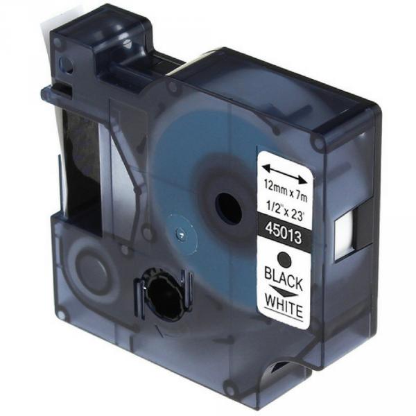 Taśma do Dymo D1 45013 12mm x 7m Biała Czarny nadruk - zamiennik GP-D45013