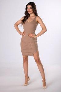 prążkowana sukienka mini z rozcięciem
