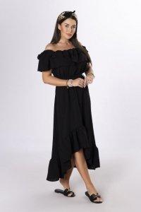 sukienka z hiszpańskim dekoltem i wiązaniem