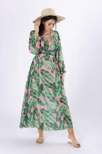 szyfonowa sukienka maxi z dekoltem V