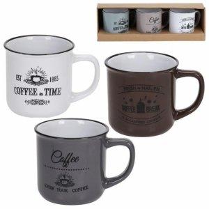 ZESTAW 3 KUBKÓW CERAMICZNYCH 330ml COFFEE EXCELLENT HOUSEWARE 124301