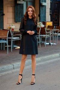 Elegancka sukienka z szyfonowymi rękawkami L265