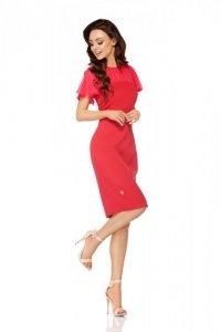 Elegancka sukienka z szyfonowymi rękawami i dekoltem L299