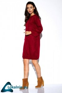 Swetrowa sukienka z szerokimi rękawami LSG117