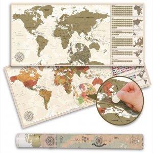 Wycierana mapa świata w stylu vintage antycznym - 100 x