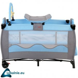 Łóżeczko turystyczne podróżne, niebiesko-szare