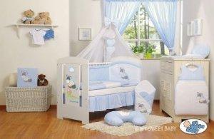Pościel 11-cz z moskitierą- Osiołek Lucek niebieski
