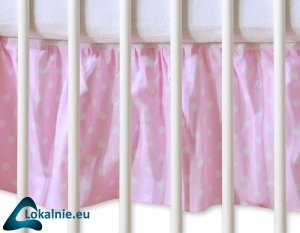 Falbanka maskująca 120x60cm- Wiszące serduszka grochy na różowym
