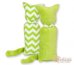 Kot przytulanka dwustronna - Simple zygzaki zielone