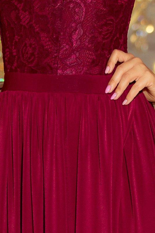 wieczorowa sukienka z koronkową górą