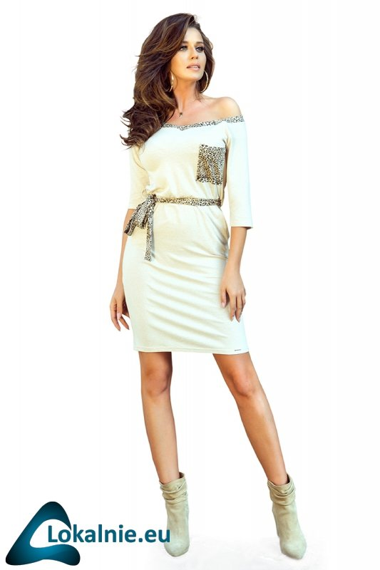 sukienka z kieszeniami i wiązaniem w pasie