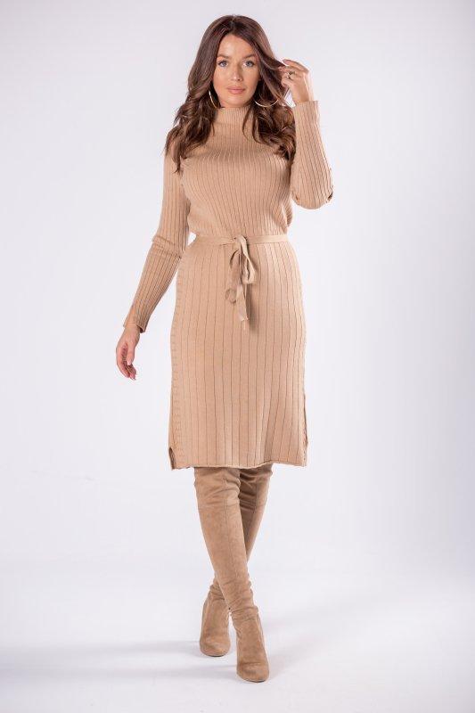 prążkowana sukienka midi z wiązaniem w pasie