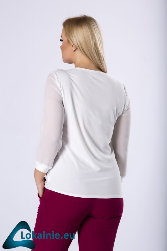 dopasowana bluzka z falbankami i szyfonowymi rękawami