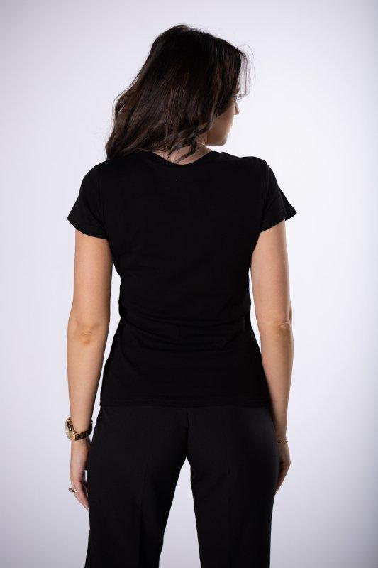 bawełniany t-shirt z połyskującym nadrukiem