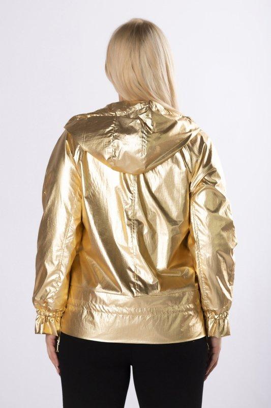 metaliczna kurtka z kapturem