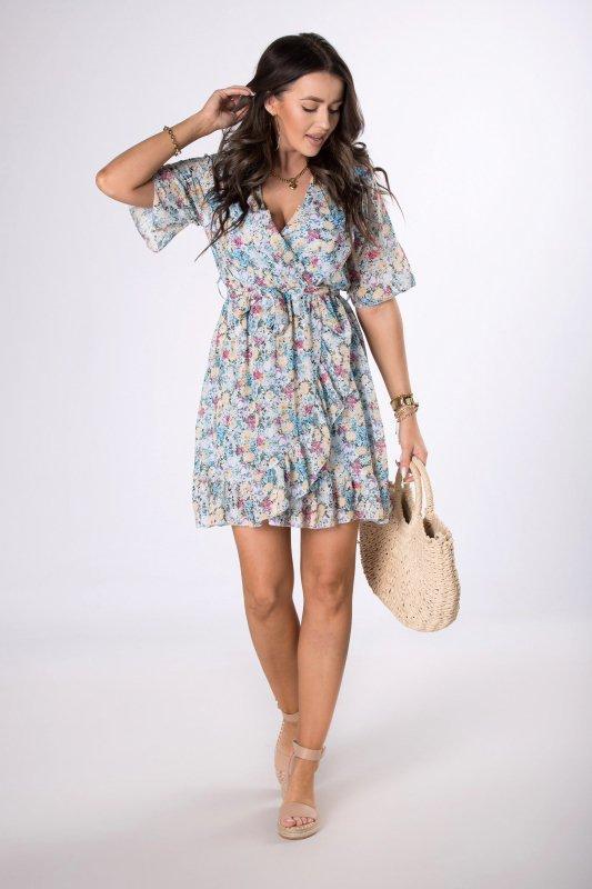 sukienka mini z kopertowym dekoltem