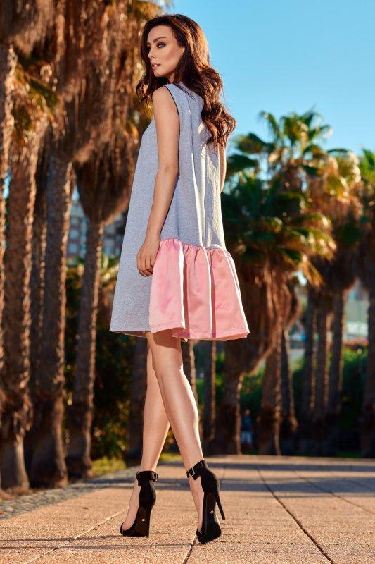 Trapezowa sukienka z satynową falbaną L247
