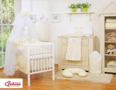 Pościel 11-cz z moskitierą- Little Prince/Princess kremowa
