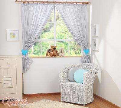 Zasłonki do pokoju dziecięcego- Kocham szaro-turkusowe