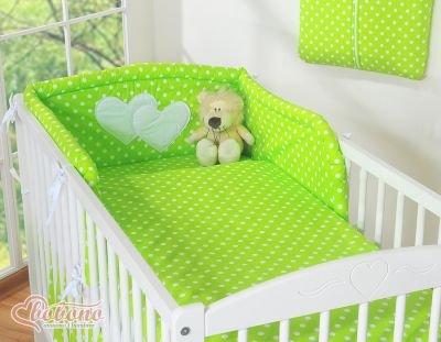 Pościel 3-cz Serduszka grochy zielone