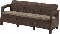 Meble ogrodowe sofa 3-osobowa CORFU brąz/c.beż