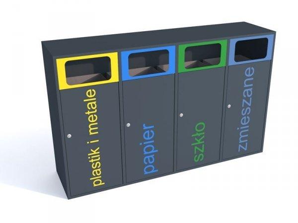 Stacja do segregacji śmieci 4 strumienie po 120 litrów
