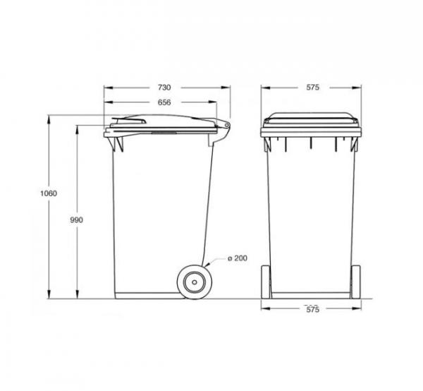 Pojemnik na odpady 240 litrów brązowy