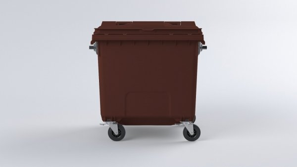 Pojemnik na odpady1100L z pokrywą brązowy