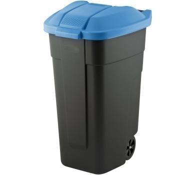 Pojemnik na odpady 110L czarny z niebieską pokrywą