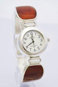 Zegarek ze srebra z naturalnym bursztynem kod 299/350