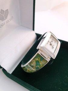 Zegarek ze srebra z zielonym bursztynem kod 848