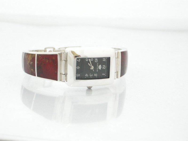 Zegarek ze srebra z  bursztynem kod 475