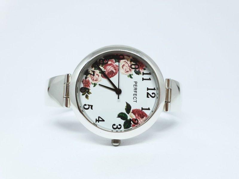 Srebrny zegarek w kwiaty 925 kod 908