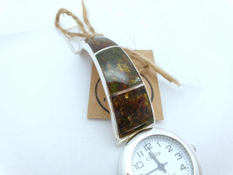 srebrny zegarek damski z bursztynem naturalnym