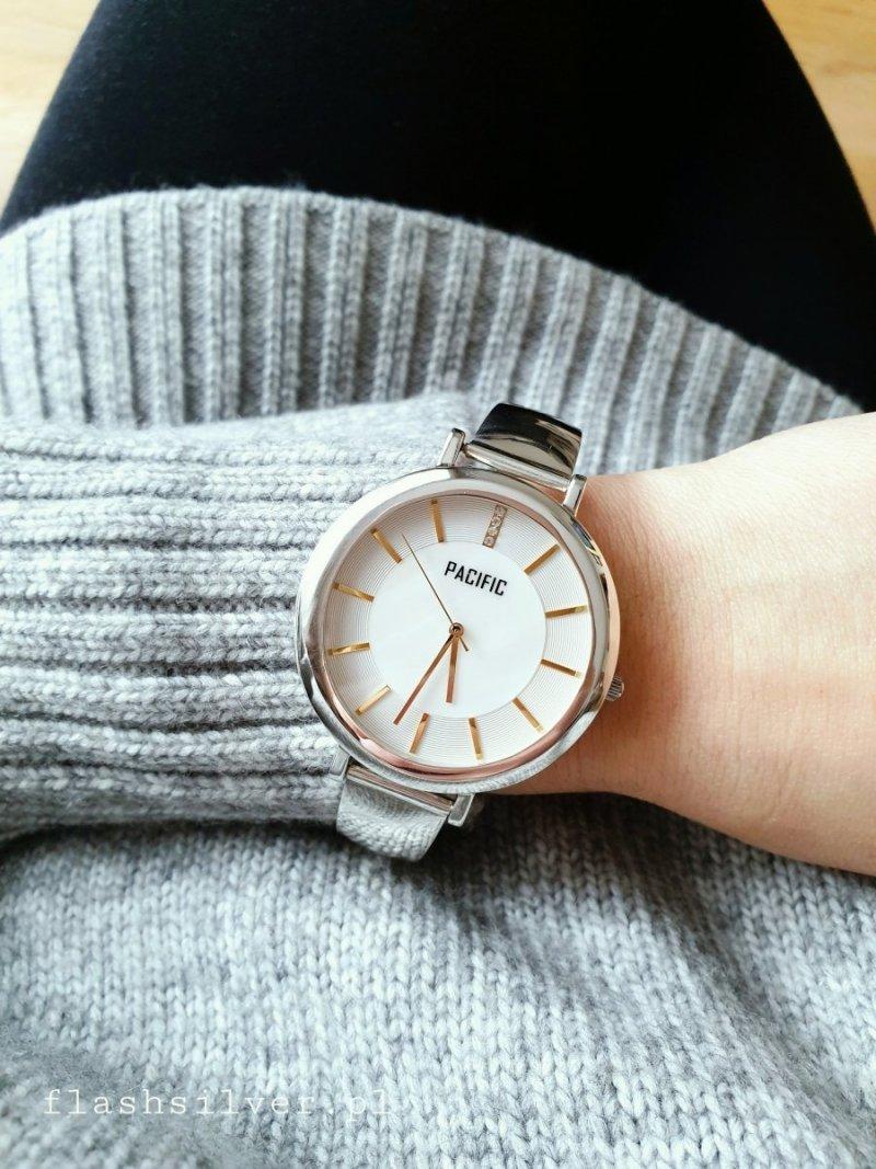 Zegarek ze srebra duża designerska tarcza