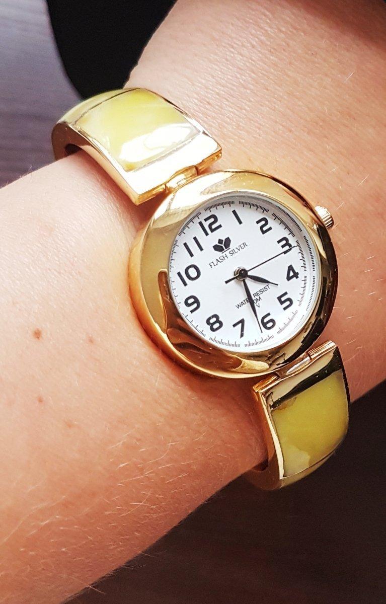 Zegarek ze srebra z bursztynem kod 497
