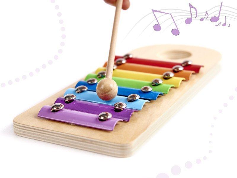 Zabawka drewniana Cymbałki z młoteczkiem + wbijak przebijanka