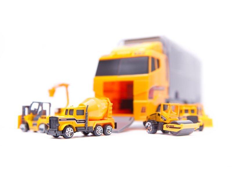 Ciężarówka TIR transporter + metalowe auta maszyny budowlane
