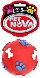 Pet Nova Zabawka dla psa - Piłka w kości i łapki - czerwona 6cm