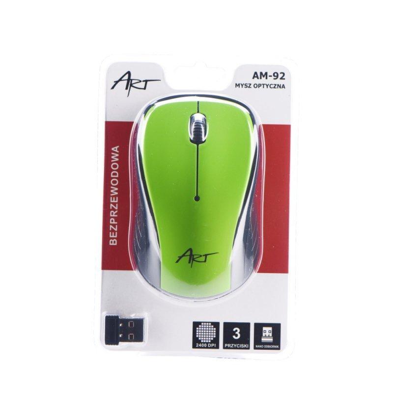 Mysz / Myszka  ART  bezprzewodowa-optyczna USB AM-92 zielona