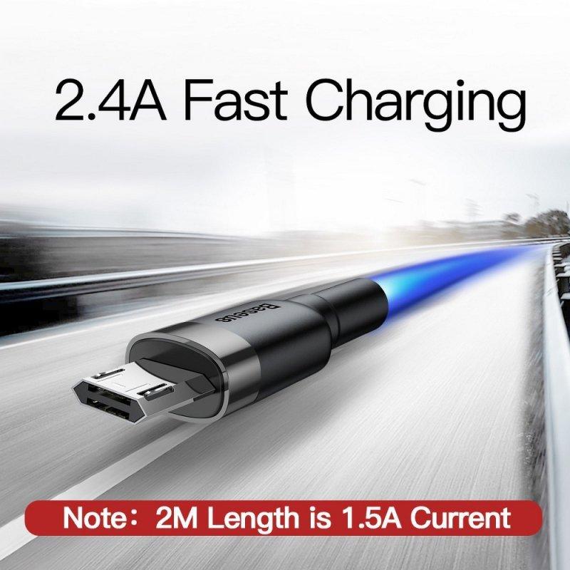 BASEUS kabel USB Cafule Micro 1,5A 2 metry szaro-czarny CAMKLF-CG1