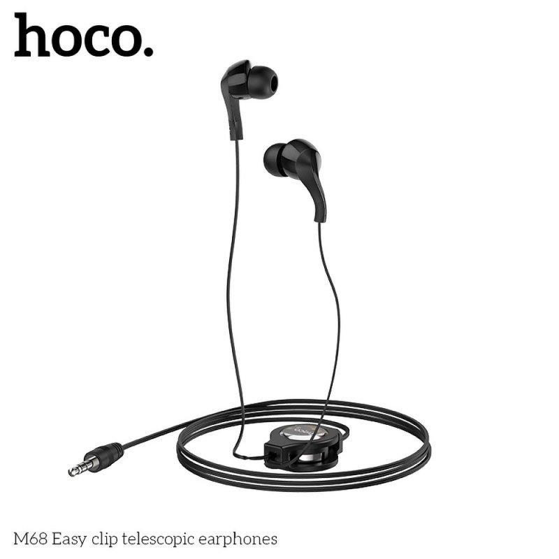 HOCO zestaw słuchawkowy / słuchawki dokanałowe teleskopowe M68 czarne