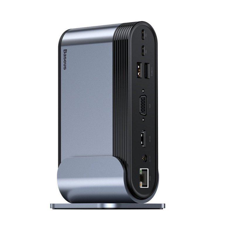 BASEUS HUB multifunkcyjna stacja 16w1 Typ C na 3xUSB 3.0 + 2xUSB 2.0 + Tipo C + VGA + 4K + DC Power + RJ45 + SD + Audio CAHUB-BG