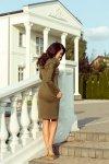 131-8 Sukienka z dużym GOLFEM i kieszeniami - KHAKI