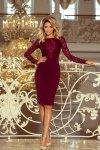 216-3 EMMA elegancka ołówkowa sukienka z koronką - BORDOWA