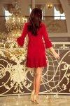 228-3 LUCY - plisowana wygodna sukienka - CZERWONA