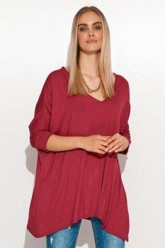 Asymetryczna bluzka damska onesize burgund M704