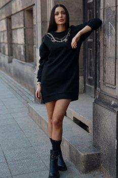 Sukienka dresowa z imitacją łańcuszka czarna NU378