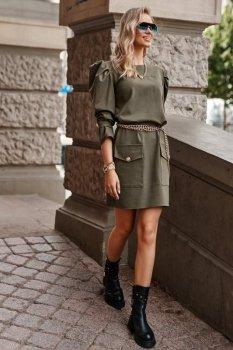 Sukienka mini z bufiastymi rękawami khaki M687